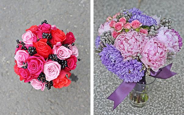 Buchetul de mireasa cu dalii si trandafiri roz